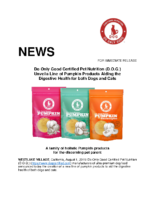 Do Only Good Certified Pet Nutrition (D.O.G.) Unveils Line of Pumpkin Products Aiding the Digestive Health for both Dogs and Cats