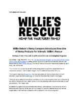 Willie Nelson's Hemp Company Introduces New Line of Hemp Products for Animals- Willie's Rescue